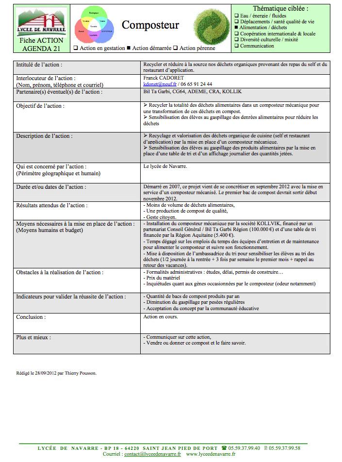 Descripción de la acción de compostaje con maquinaria de Kollvik dentro de la Agenda 21 de Lycée de Navarre